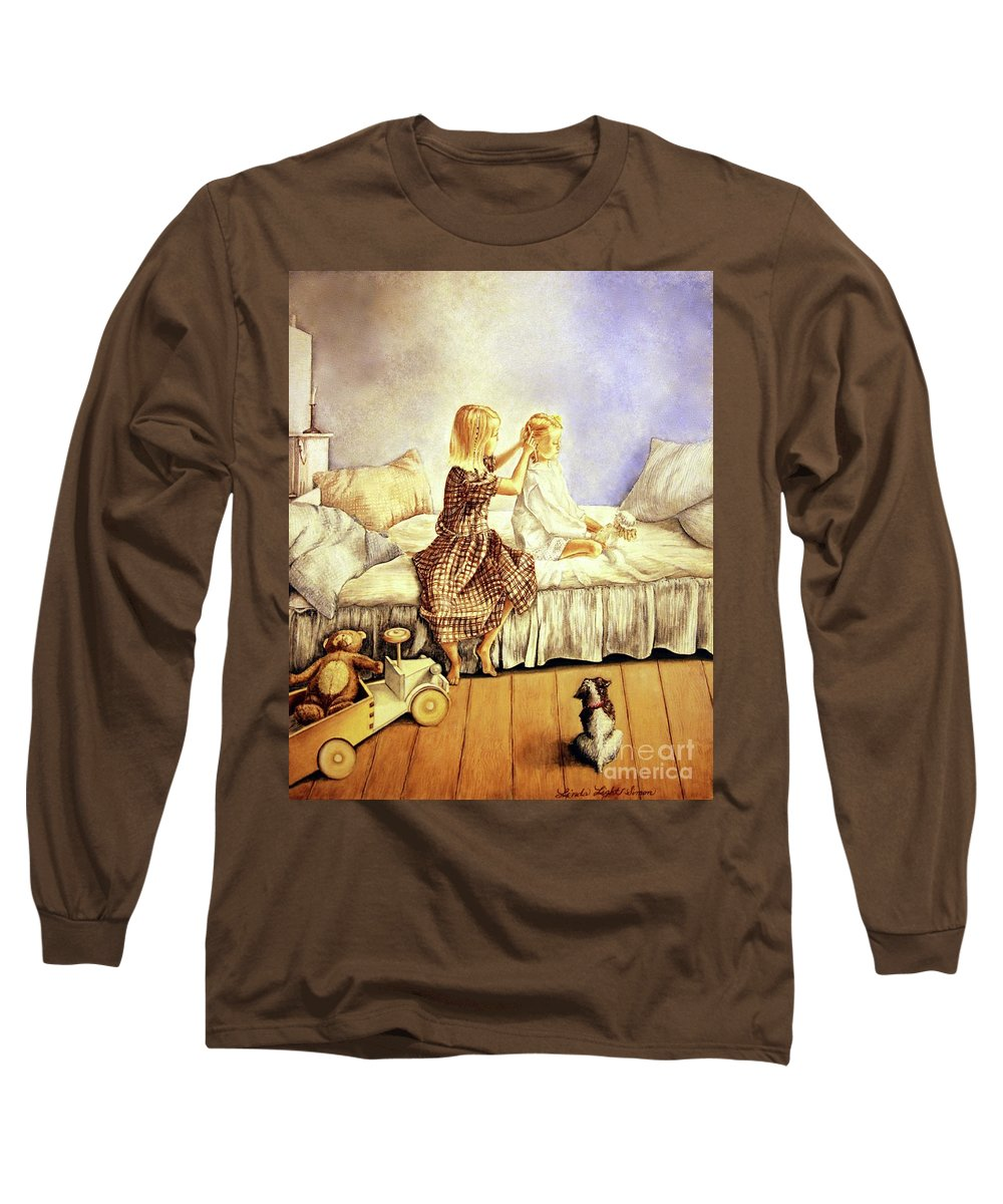 Animals Long Sleeve T-Shirt featuring the painting Hands Of Devotion - Childhood by Linda Simon