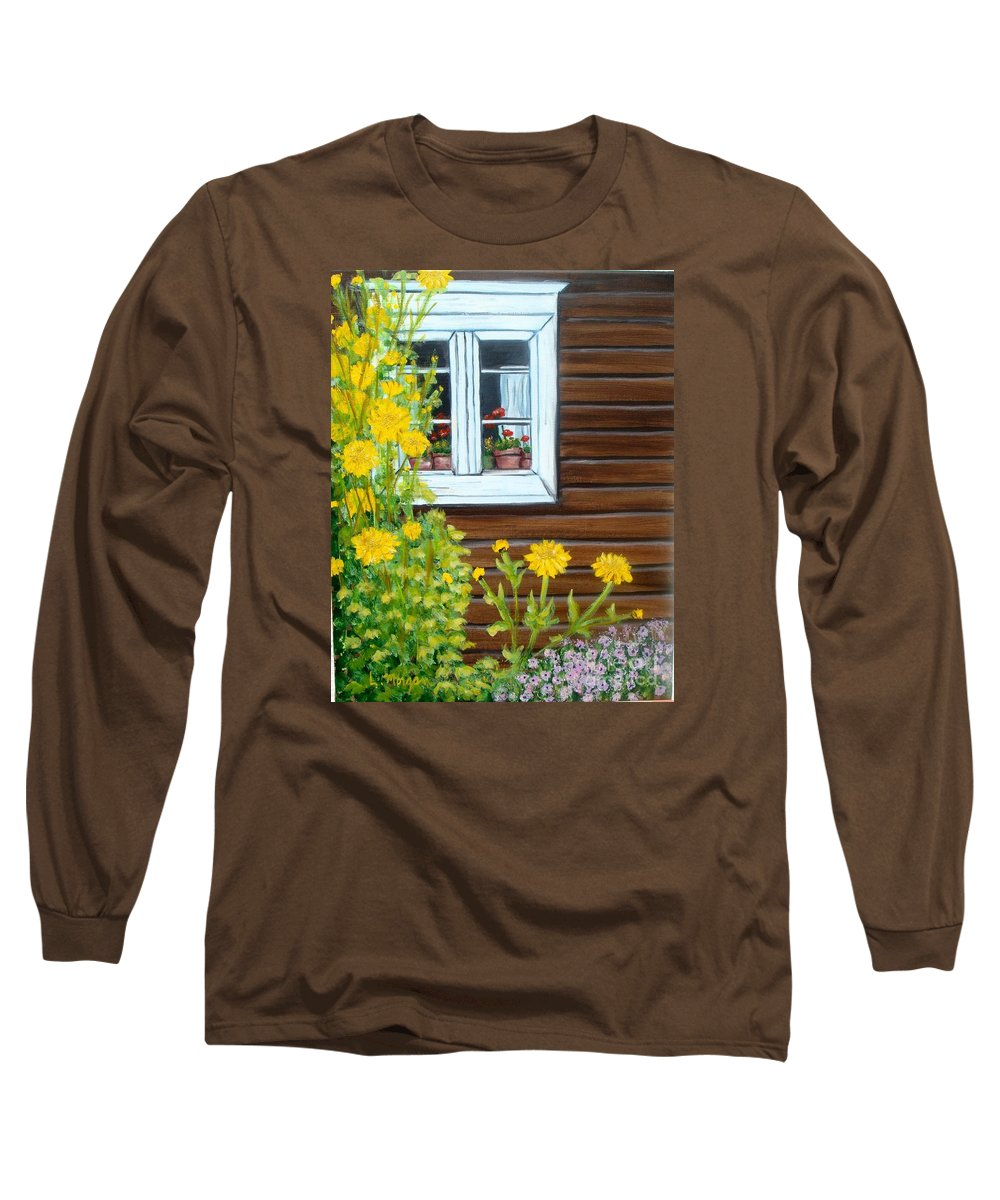 Window Long Sleeve T-Shirt featuring the painting Happy Homestead by Laurie Morgan