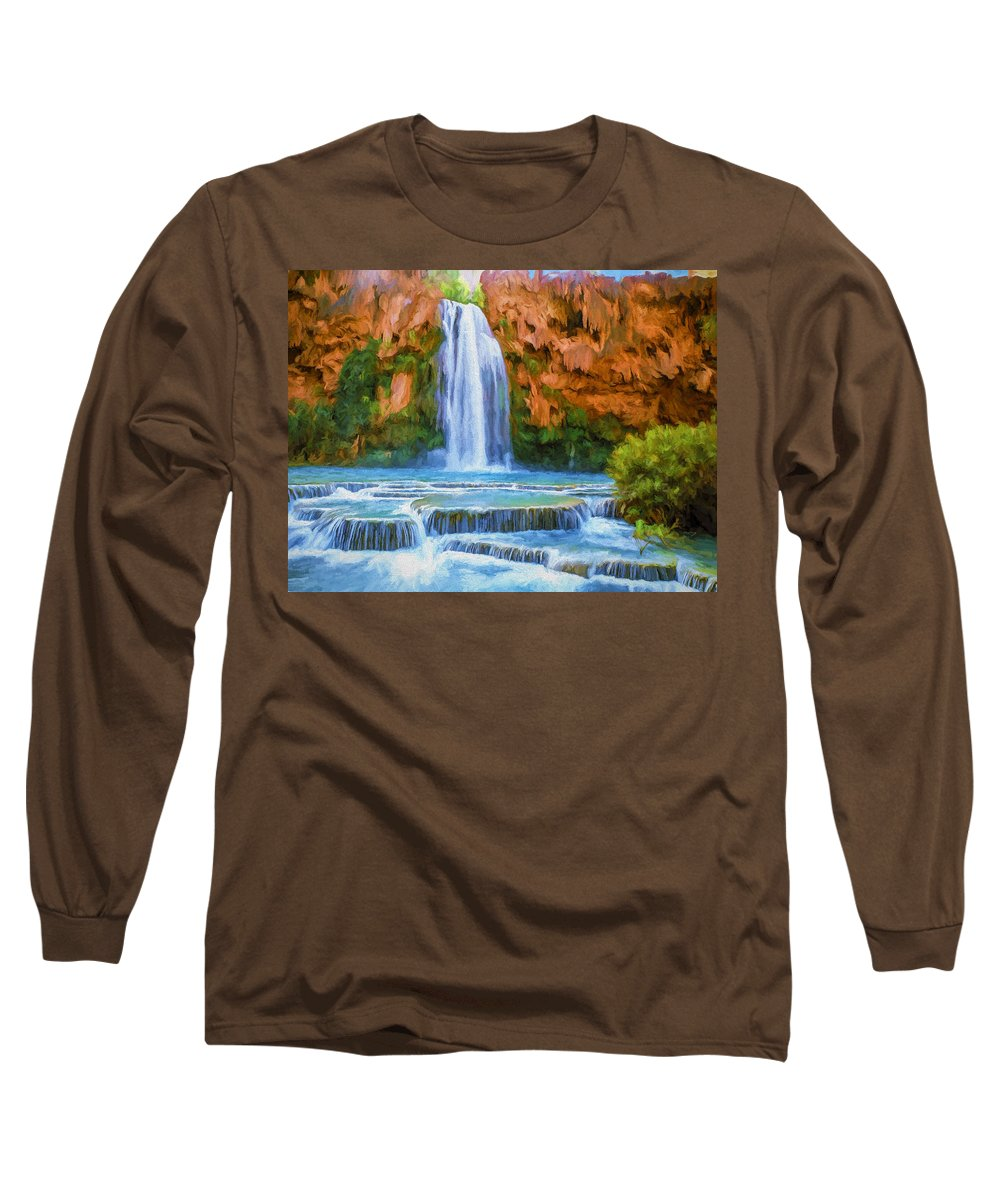 Fine Art Long Sleeve T-Shirt featuring the painting Havasu Falls by David Wagner