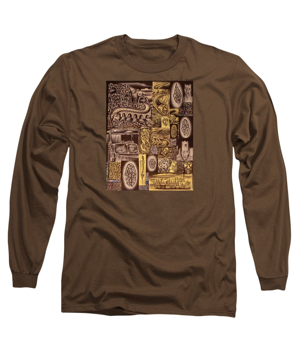 Pen Long Sleeve T-Shirt featuring the drawing He Always Travels Alone by Stuart Swartz