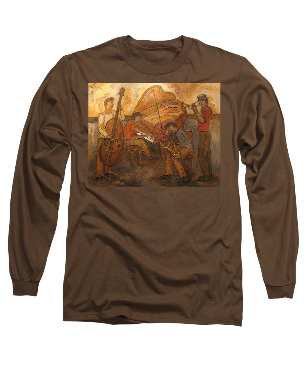 Impressionist Long Sleeve T-Shirt featuring the painting Jazz Quartet by Anita Burgermeister