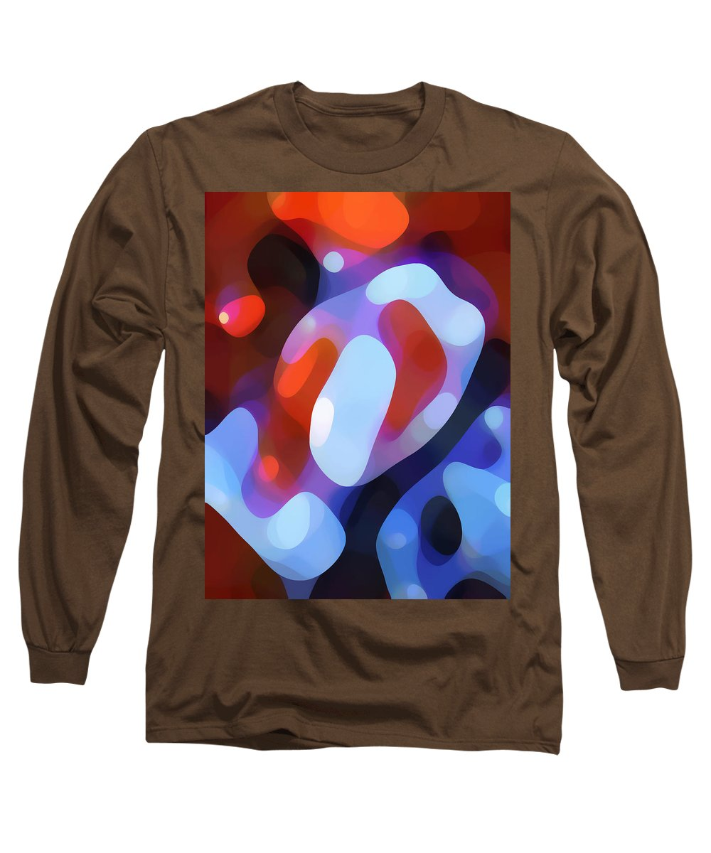 Abstract Long Sleeve T-Shirt featuring the painting Light Through Fall Leaves by Amy Vangsgard
