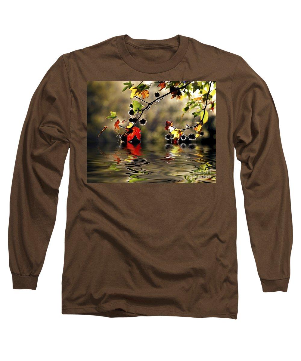 Liquidambar Maple Autumn Fall Flood Water Reflection Long Sleeve T-Shirt featuring the photograph Liquidambar In Flood by Sheila Smart Fine Art Photography