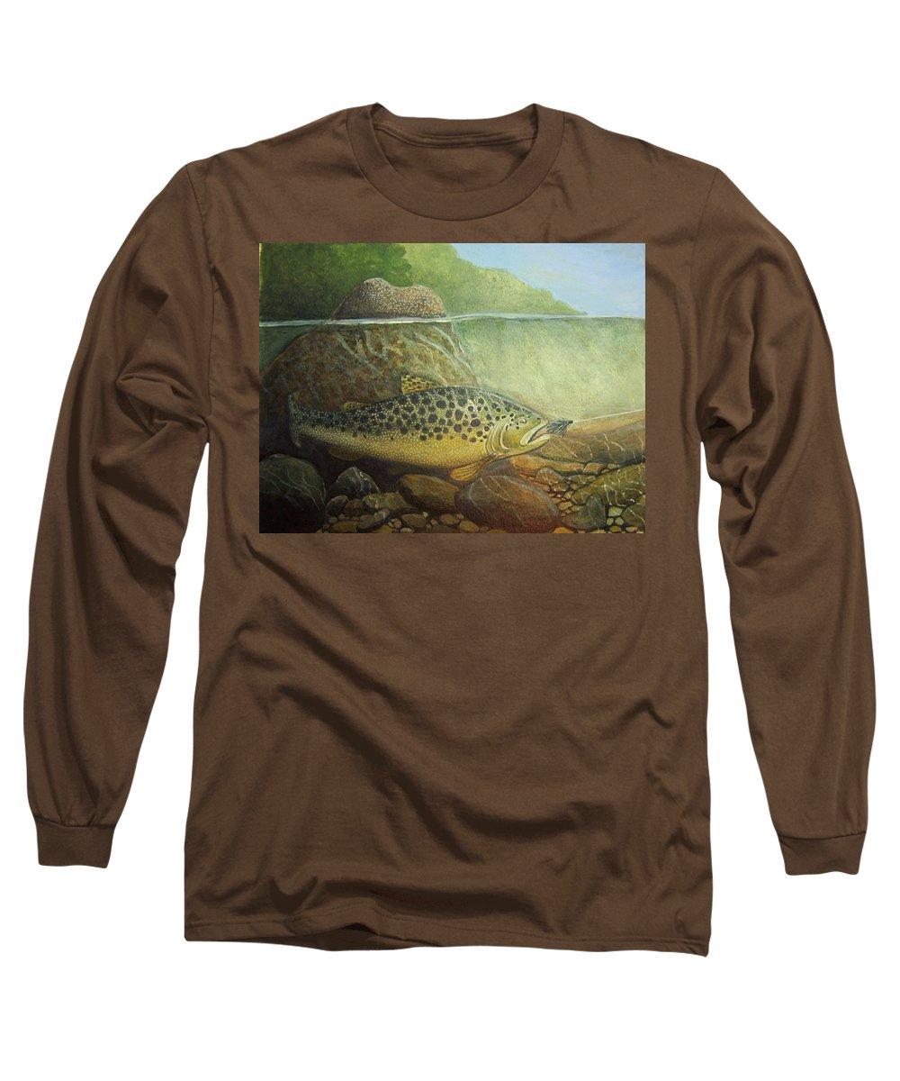 Rick Huotari Long Sleeve T-Shirt featuring the painting Lurking by Rick Huotari