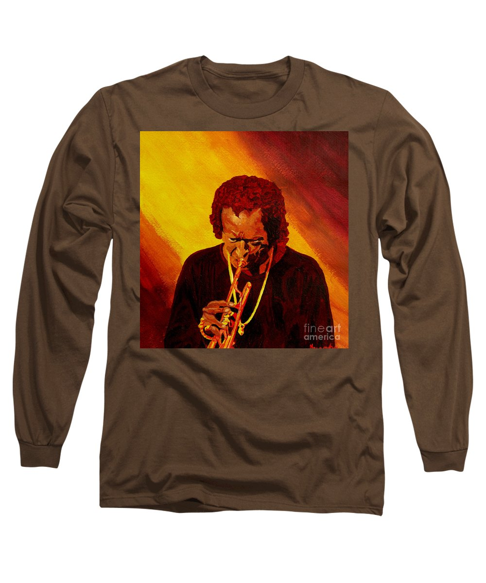 Miles Davis Long Sleeve T-Shirt featuring the painting Miles Davis Jazz Man by Anthony Dunphy