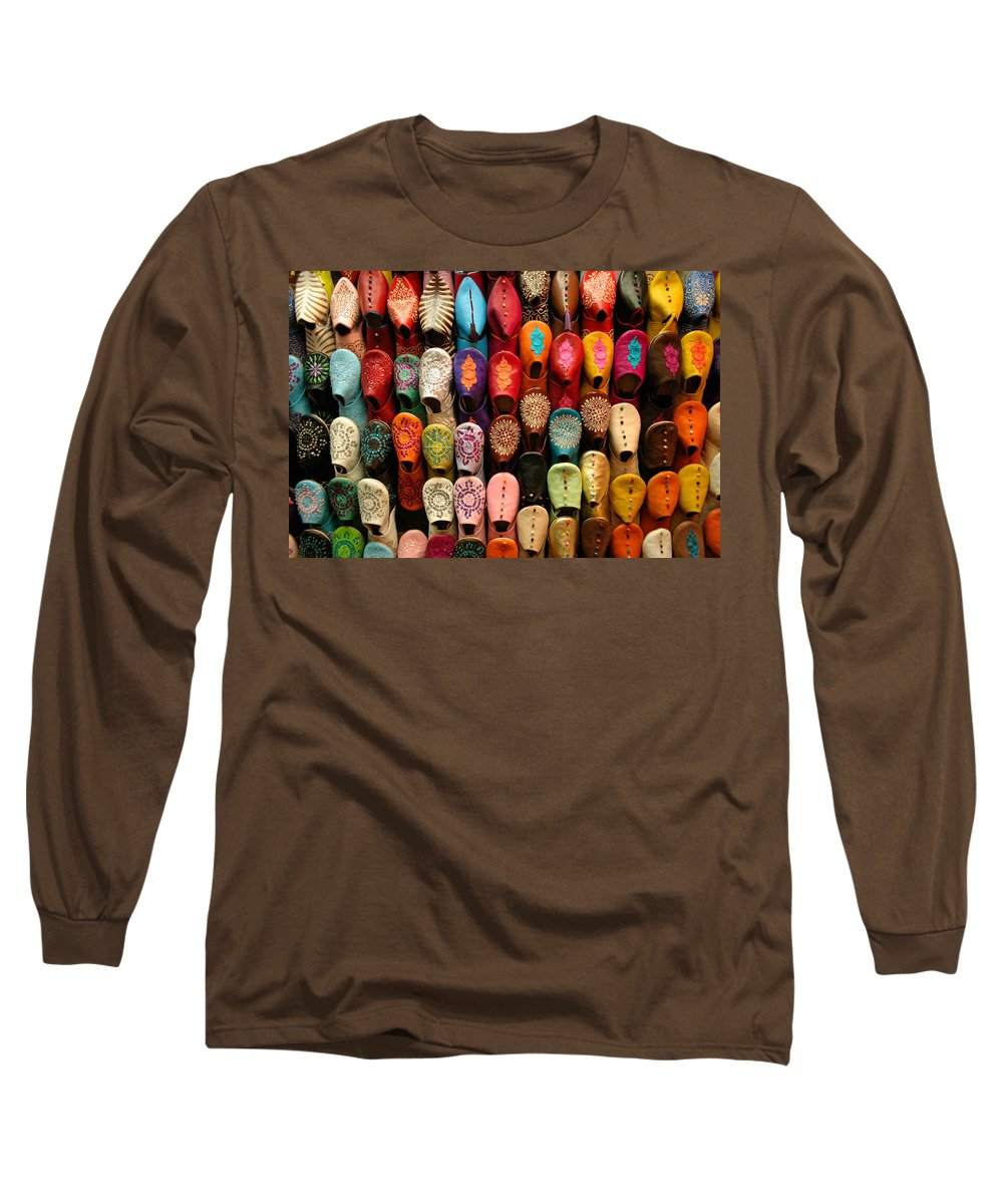 Babouches Long Sleeve T-Shirt featuring the photograph Moroccan Babouches Old Medina Marrakesh Morocco by Ralph A Ledergerber-Photography