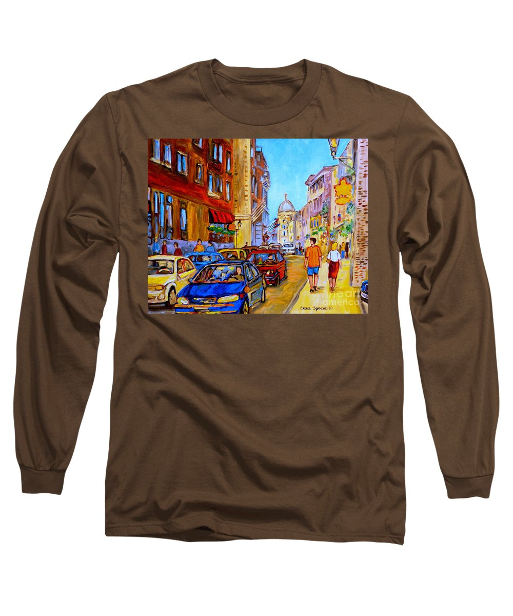 Old Montreal Street Scenes Long Sleeve T-Shirt featuring the painting Old Montreal by Carole Spandau