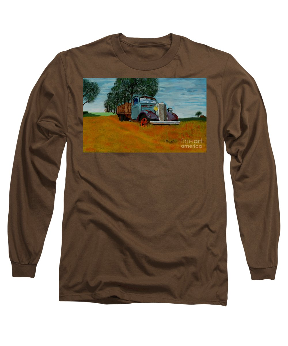 Truck Long Sleeve T-Shirt featuring the painting Out To Pasture by Anthony Dunphy