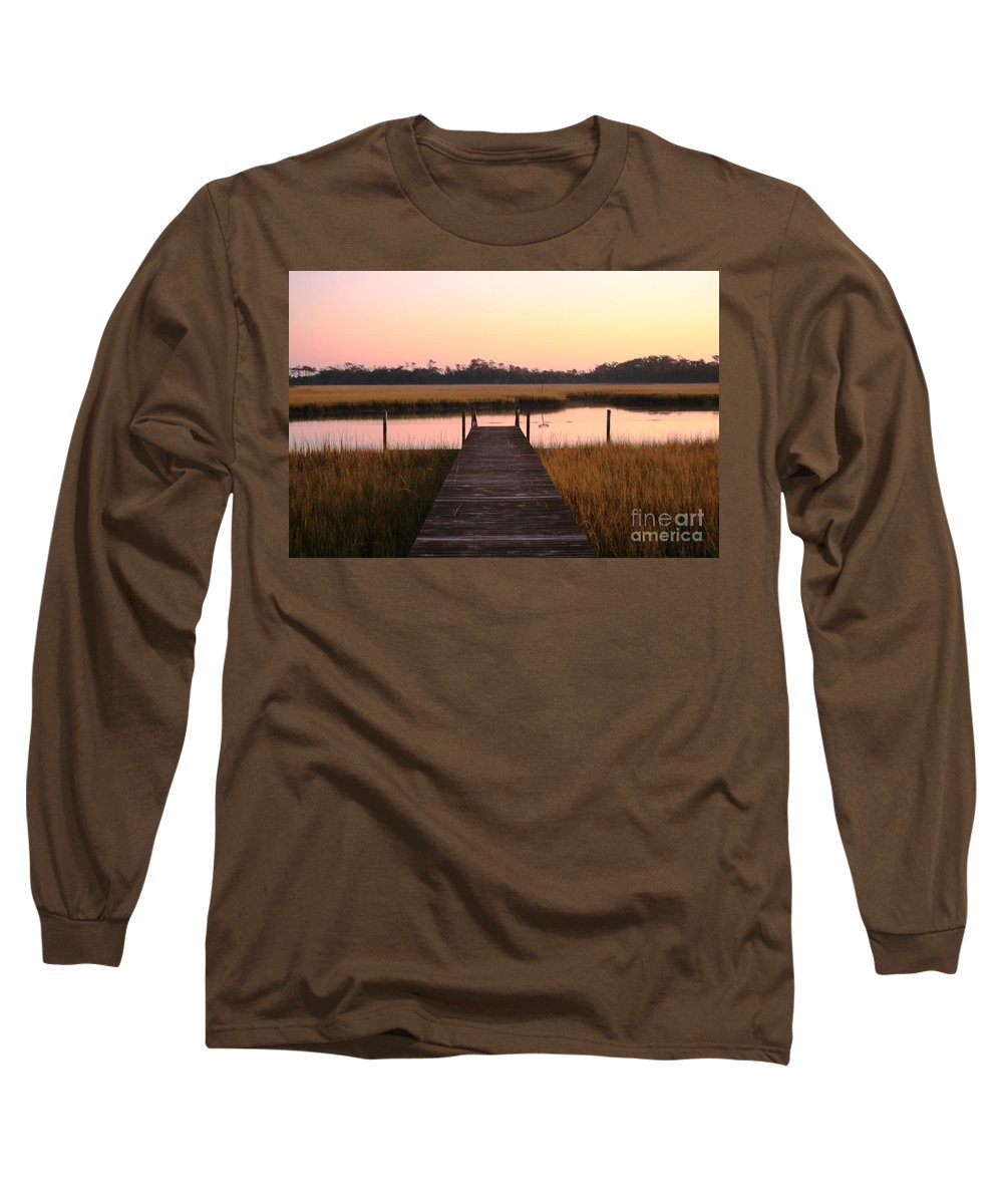 Pink Long Sleeve T-Shirt featuring the photograph Pink And Orange Morning On The Marsh by Nadine Rippelmeyer