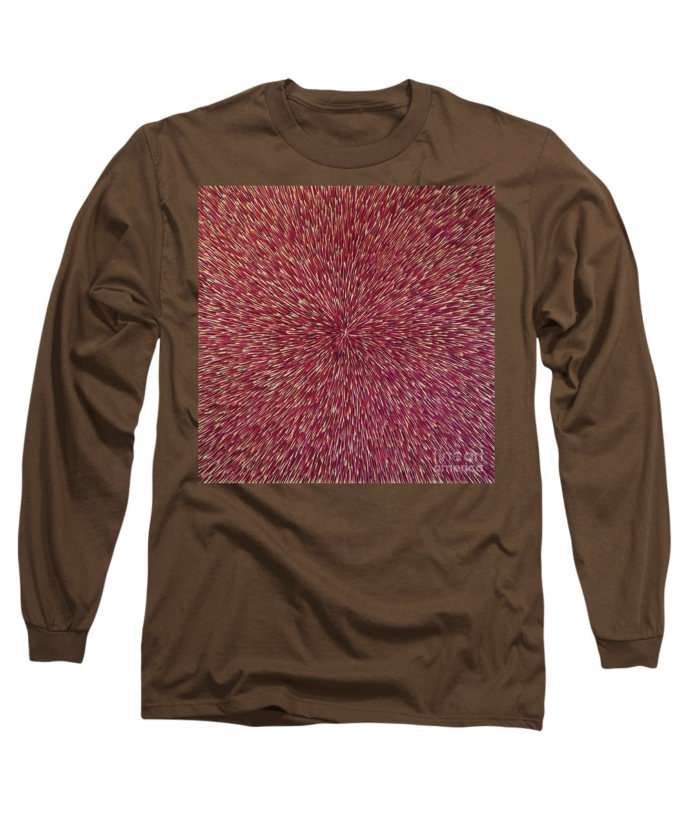 Abstract Long Sleeve T-Shirt featuring the painting Radiation With Brown Magenta And Violet by Dean Triolo