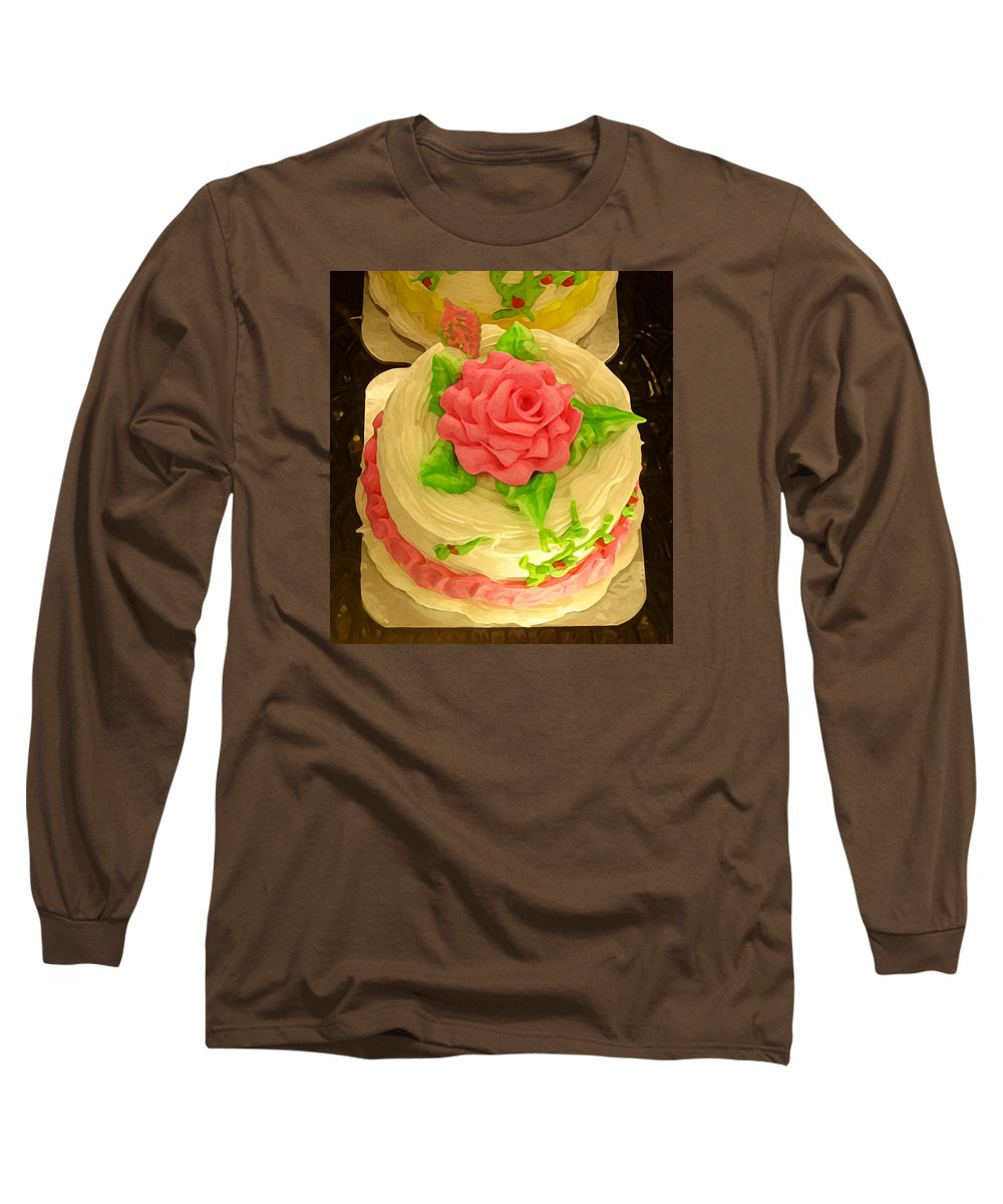 Food Long Sleeve T-Shirt featuring the painting Rose Cakes by Amy Vangsgard