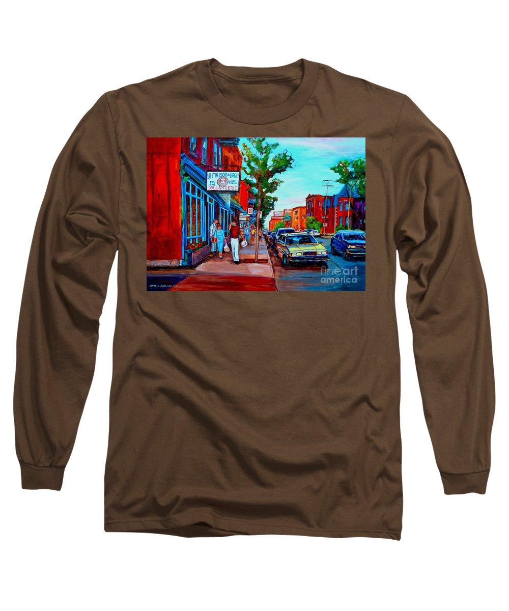 St.viateur Bagel Shop Long Sleeve T-Shirt featuring the painting Saint Viateur Bagel Shop by Carole Spandau