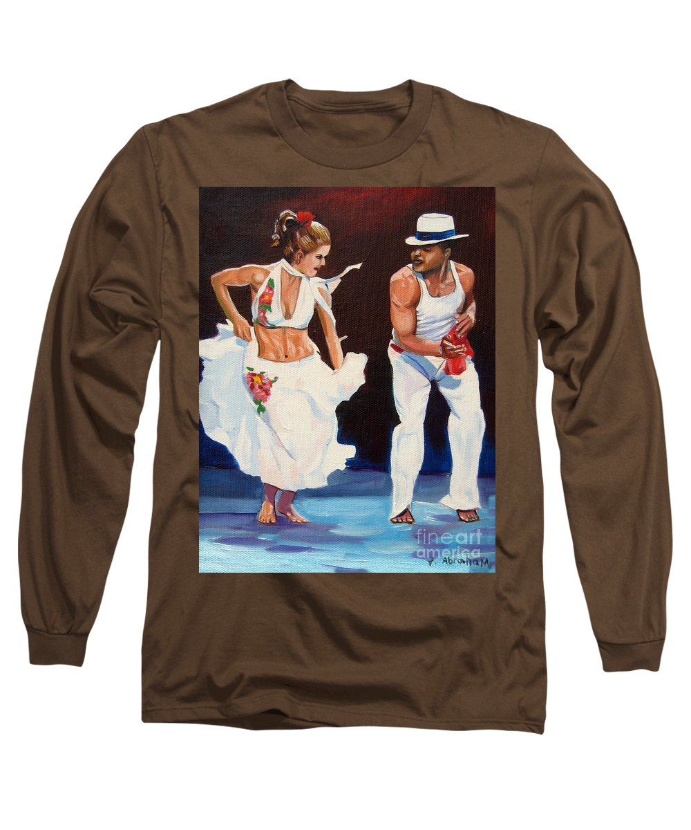 Dancing Long Sleeve T-Shirt featuring the painting Salsa by Jose Manuel Abraham