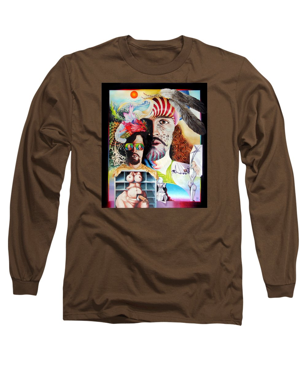 Surrealism Long Sleeve T-Shirt featuring the painting Selfportrait With The Critical Eye by Otto Rapp