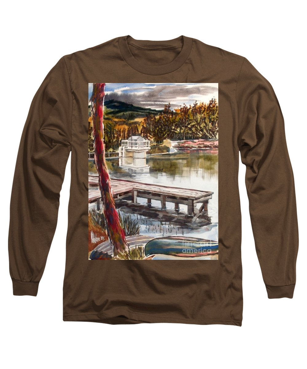 Shepherd Mountain Lake In Twilight Long Sleeve T-Shirt featuring the painting Shepherd Mountain Lake In Twilight by Kip DeVore