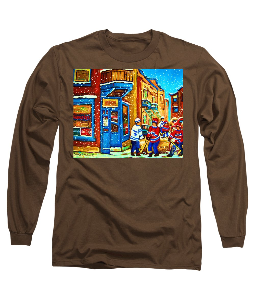 Wilenskys Long Sleeve T-Shirt featuring the painting Snow Falling On The Game by Carole Spandau