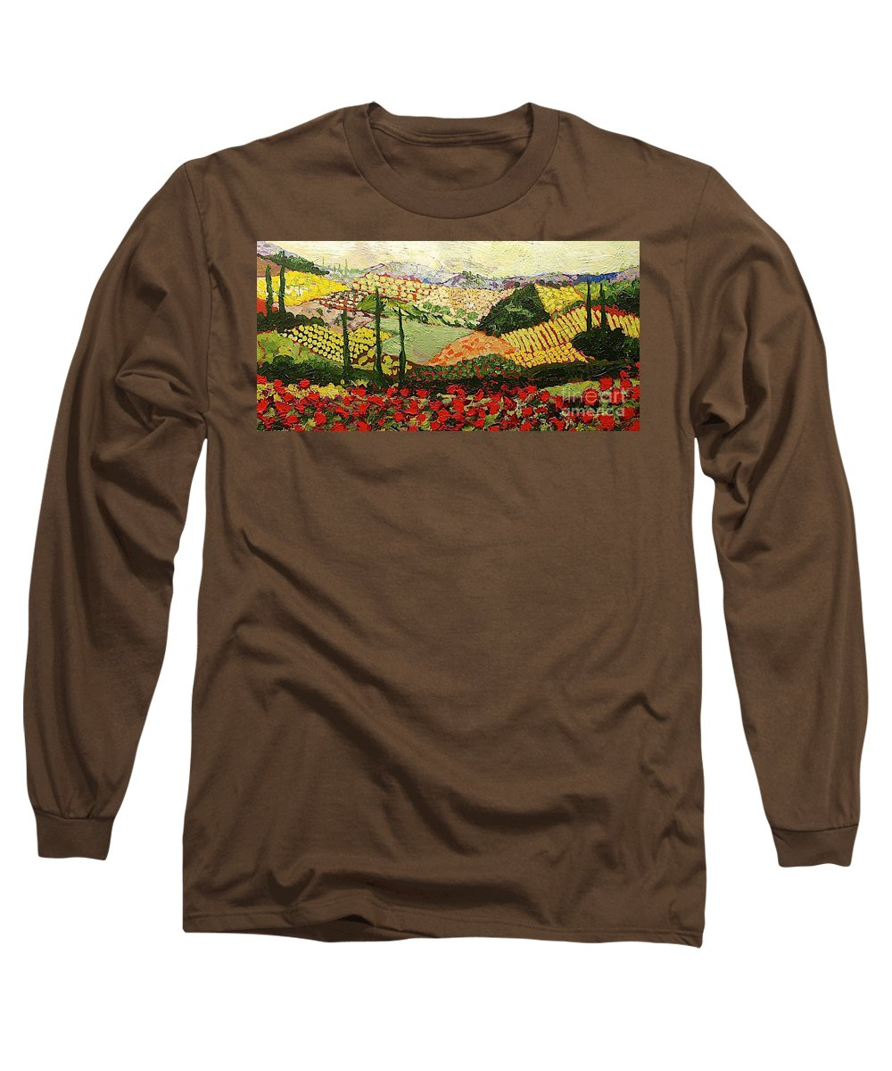 Landscape Long Sleeve T-Shirt featuring the painting Something Red by Allan P Friedlander