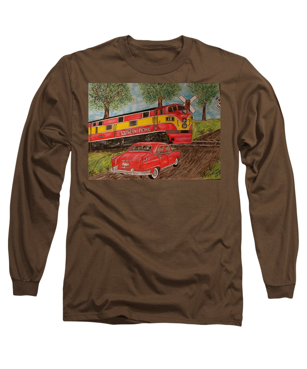Southern Pacific Railroad Long Sleeve T-Shirt featuring the painting Southern Pacific Train 1951 Kaiser Frazer Car Rr Crossing by Kathy Marrs Chandler