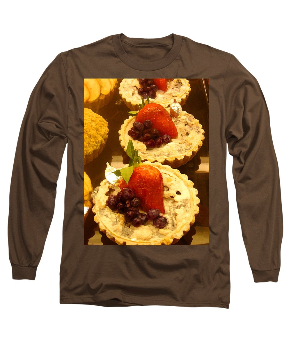 Food Long Sleeve T-Shirt featuring the painting Strawberry Blueberry Tarts by Amy Vangsgard