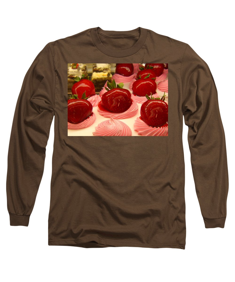 Food Long Sleeve T-Shirt featuring the painting Strawberry Mousse by Amy Vangsgard