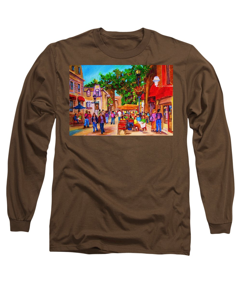 Summer Cafes Montreal Street Scenes Long Sleeve T-Shirt featuring the painting Summer Cafes by Carole Spandau