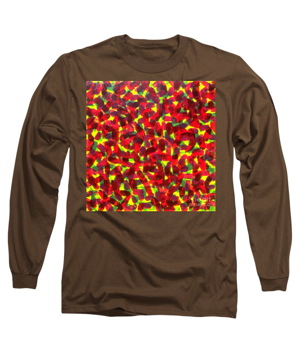 Abstract Long Sleeve T-Shirt featuring the painting Sunlight Through The Trees by Dean Triolo