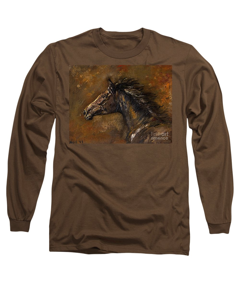 Horse Long Sleeve T-Shirt featuring the painting The Black Horse Oil Painting by Angel Ciesniarska