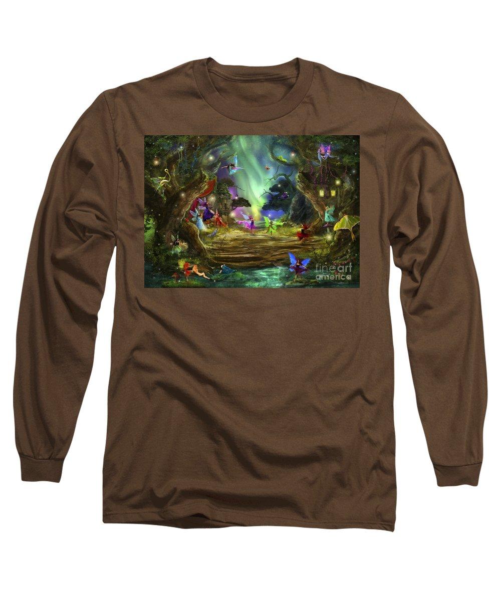 Aimee Stewart Long Sleeve T-Shirt featuring the digital art The Dancing Auroras by MGL Meiklejohn Graphics Licensing