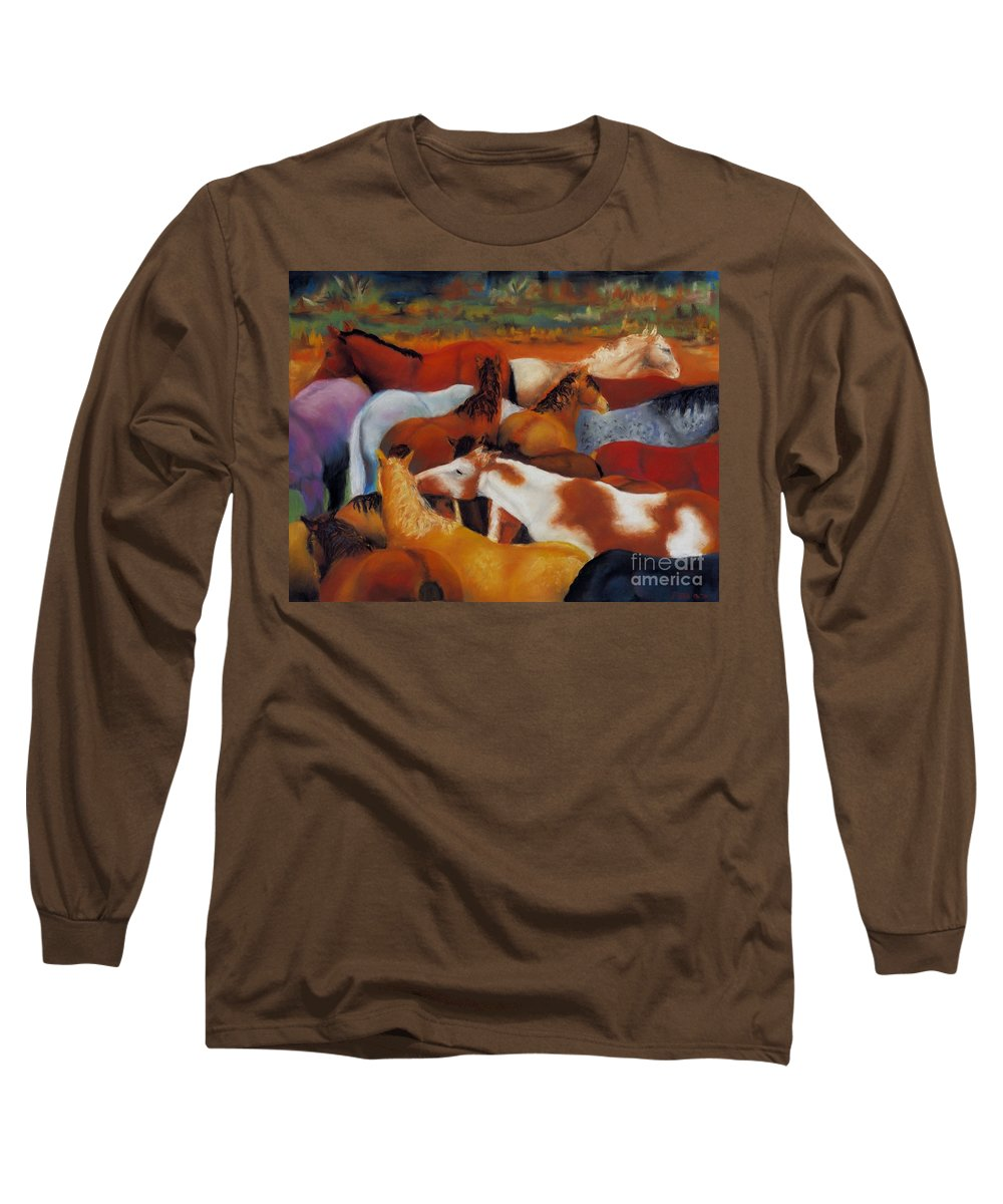 Herd Of Horses Long Sleeve T-Shirt featuring the painting The Gathering by Frances Marino