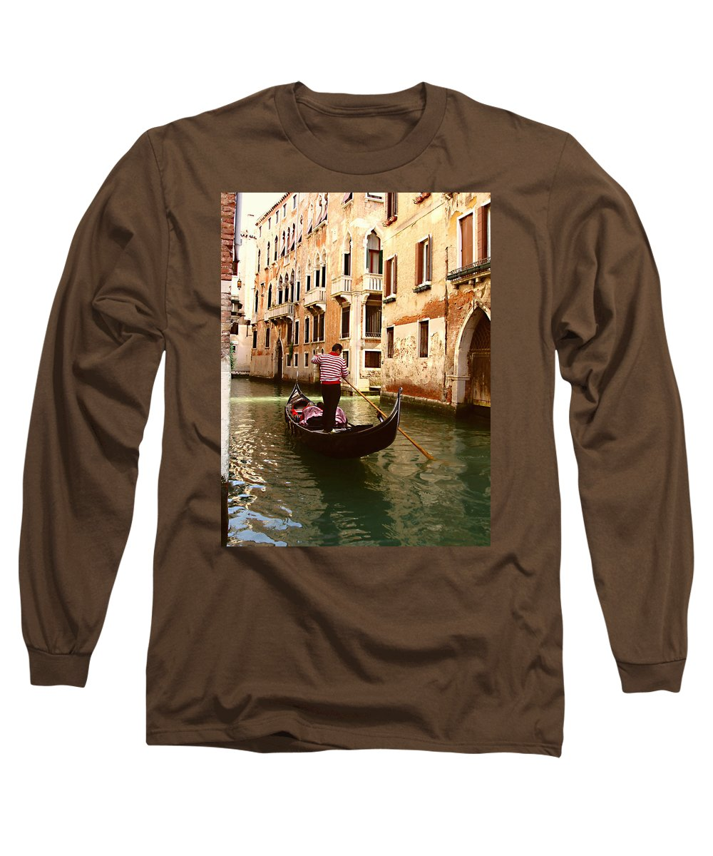 The Gondolier Long Sleeve T-Shirt featuring the photograph The Gondolier by Ellen Henneke
