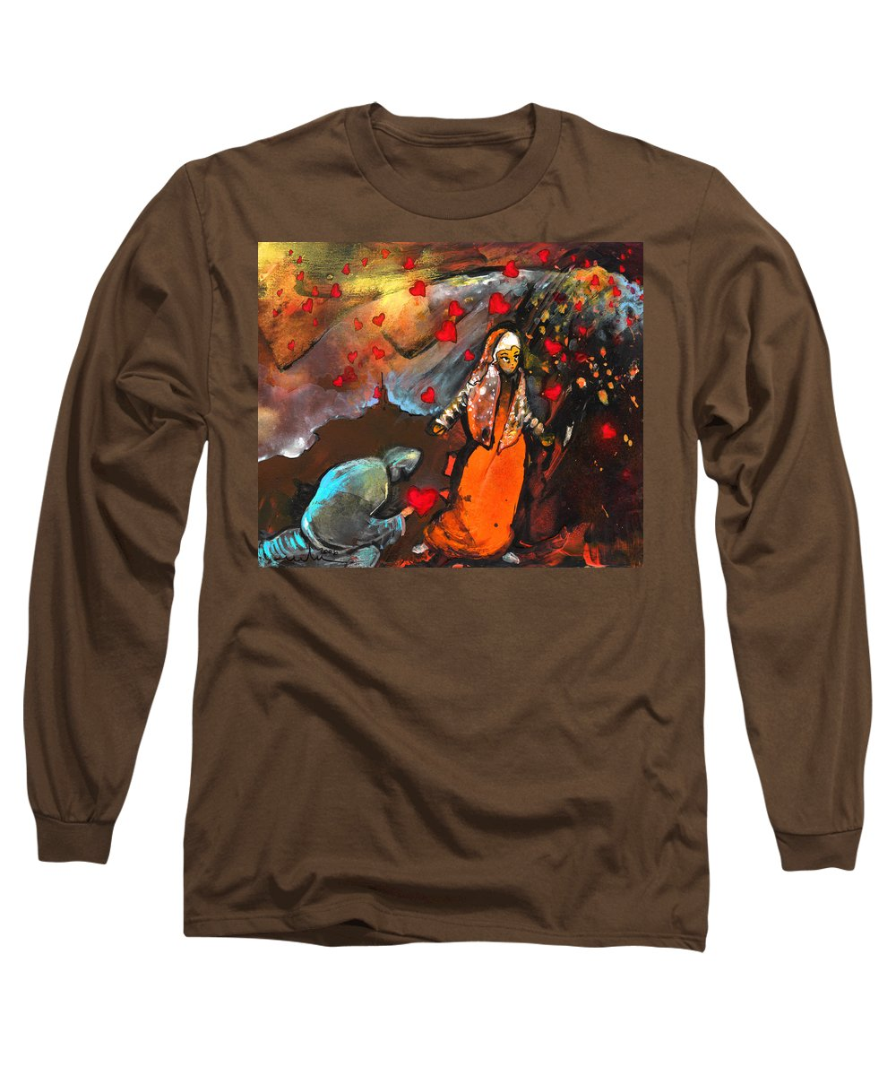 Valentine Long Sleeve T-Shirt featuring the painting The Knight Of Your Heart by Miki De Goodaboom