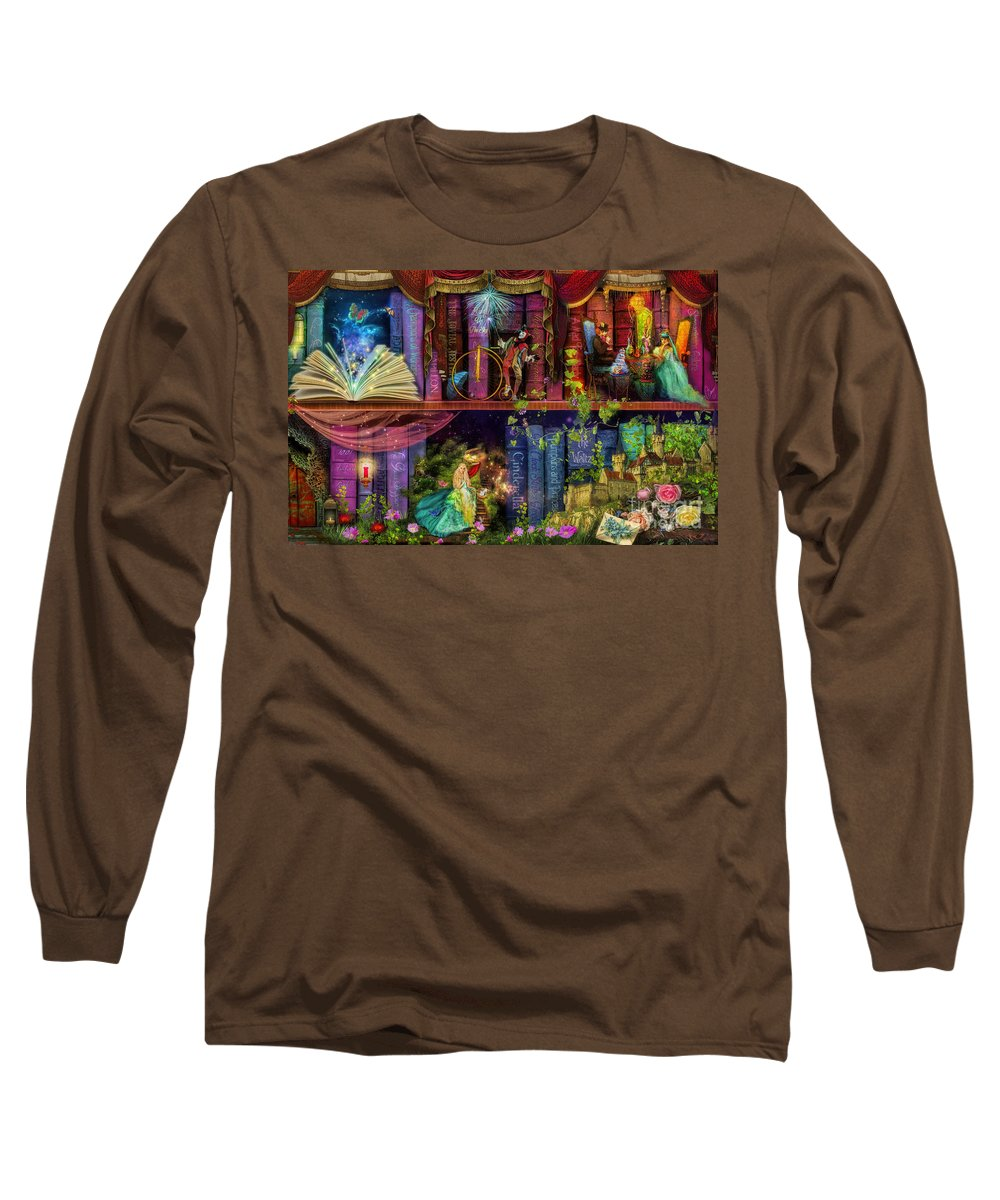 Fairytale Long Sleeve T-Shirt featuring the digital art Fairytake Treasure Hunt Book Shelf Variant 4 by MGL Meiklejohn Graphics Licensing