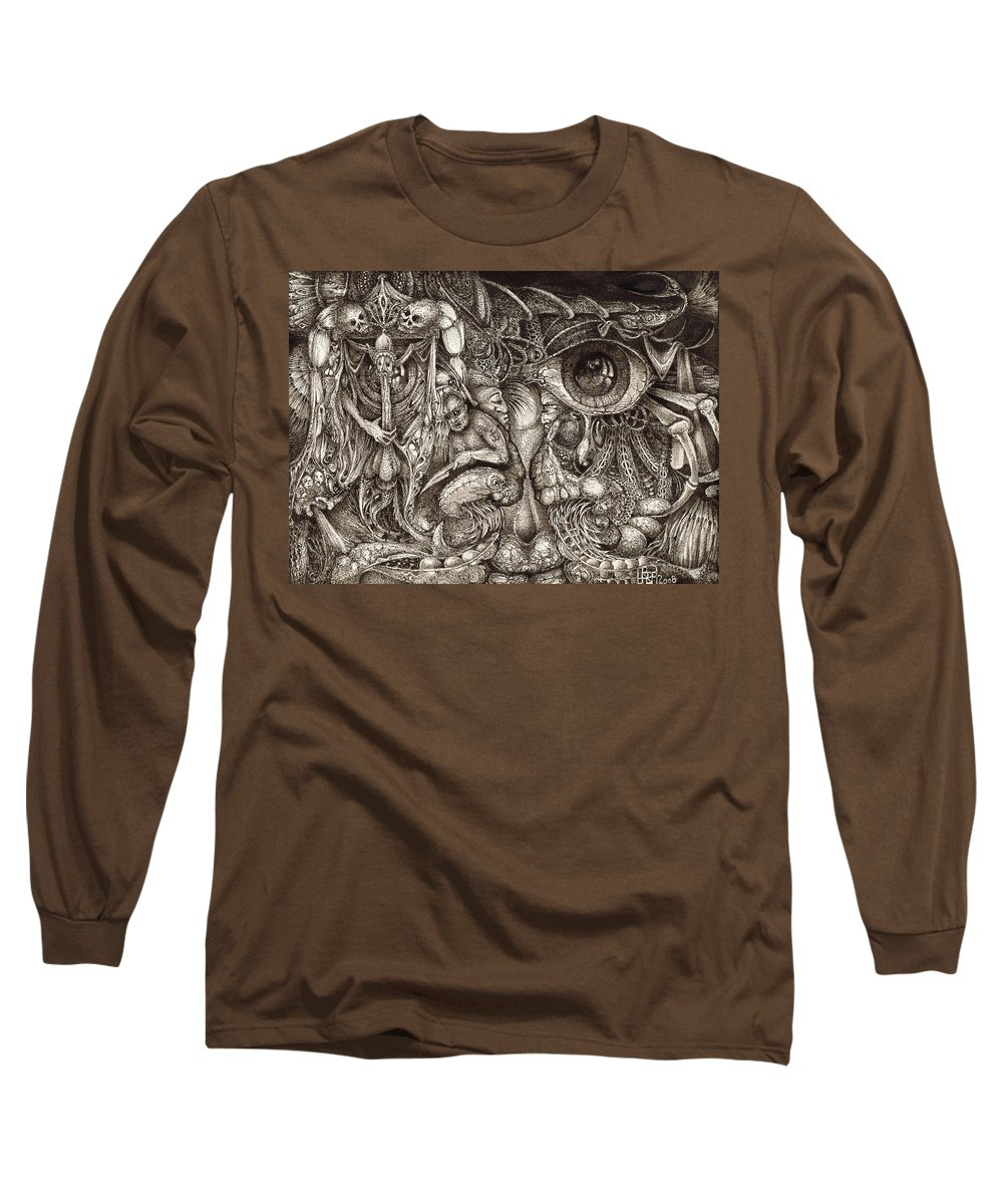 Surreal Long Sleeve T-Shirt featuring the drawing Tripping Through Bogomils Mind by Otto Rapp