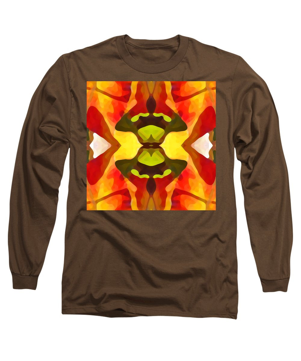 Abstract Long Sleeve T-Shirt featuring the painting Tropical Leaf Pattern 1 by Amy Vangsgard