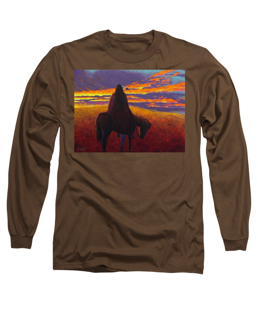 Native American Indian Long Sleeve T-Shirt featuring the painting Watching The Magic by Joe Triano