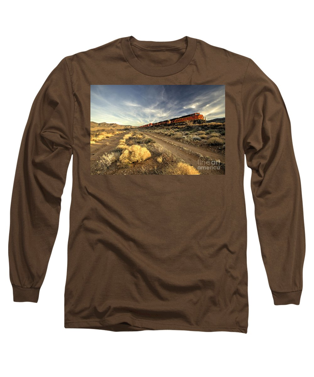 Bnsf Long Sleeve T-Shirt featuring the photograph Westbound Freight by Rob Hawkins