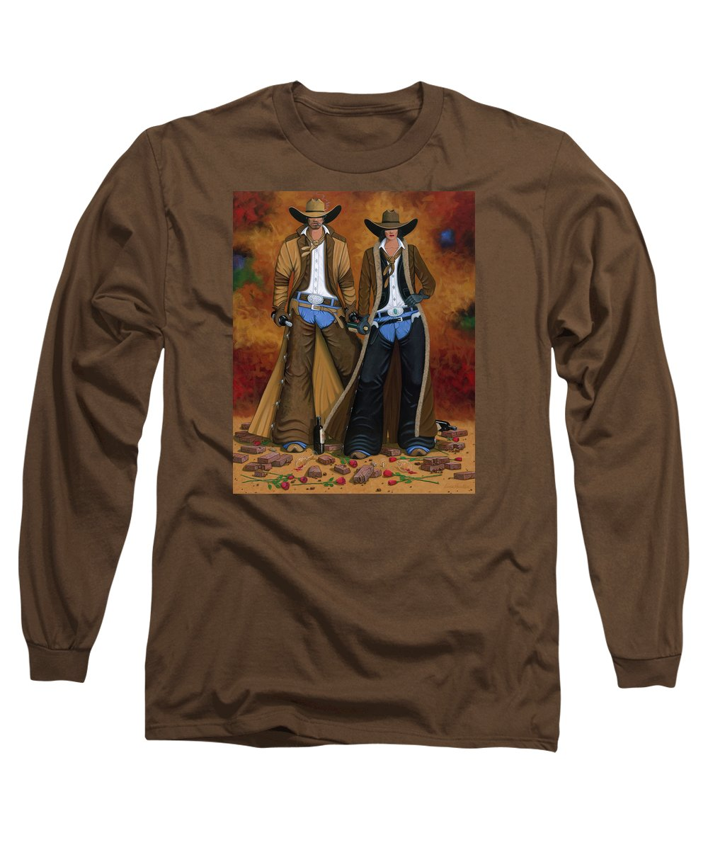 Cowgirl Long Sleeve T-Shirt featuring the painting Wine And Roses by Lance Headlee