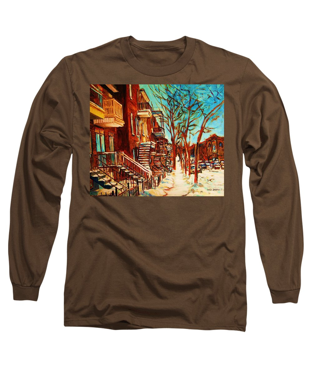 Verdun Paintings By Montreal Street Scene Artist Carole Spandau Long Sleeve T-Shirt featuring the painting Winter Staircase by Carole Spandau