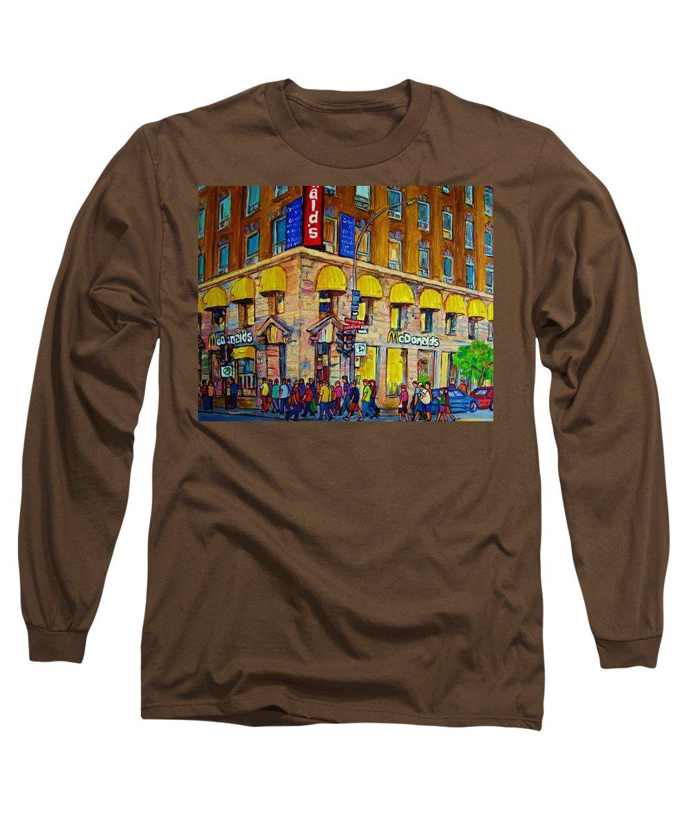 Mcdonald Restaurant Montreal Long Sleeve T-Shirt featuring the painting Mcdonald by Carole Spandau