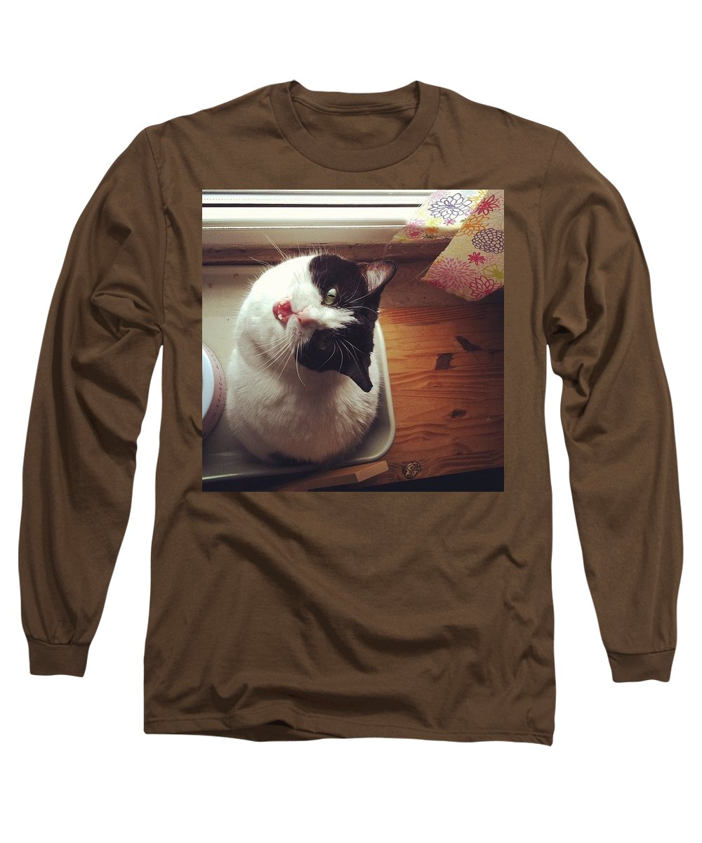 Catsofinstagram Long Sleeve T-Shirt featuring the photograph the Bowl's Empty! #cat by Katie Cupcakes