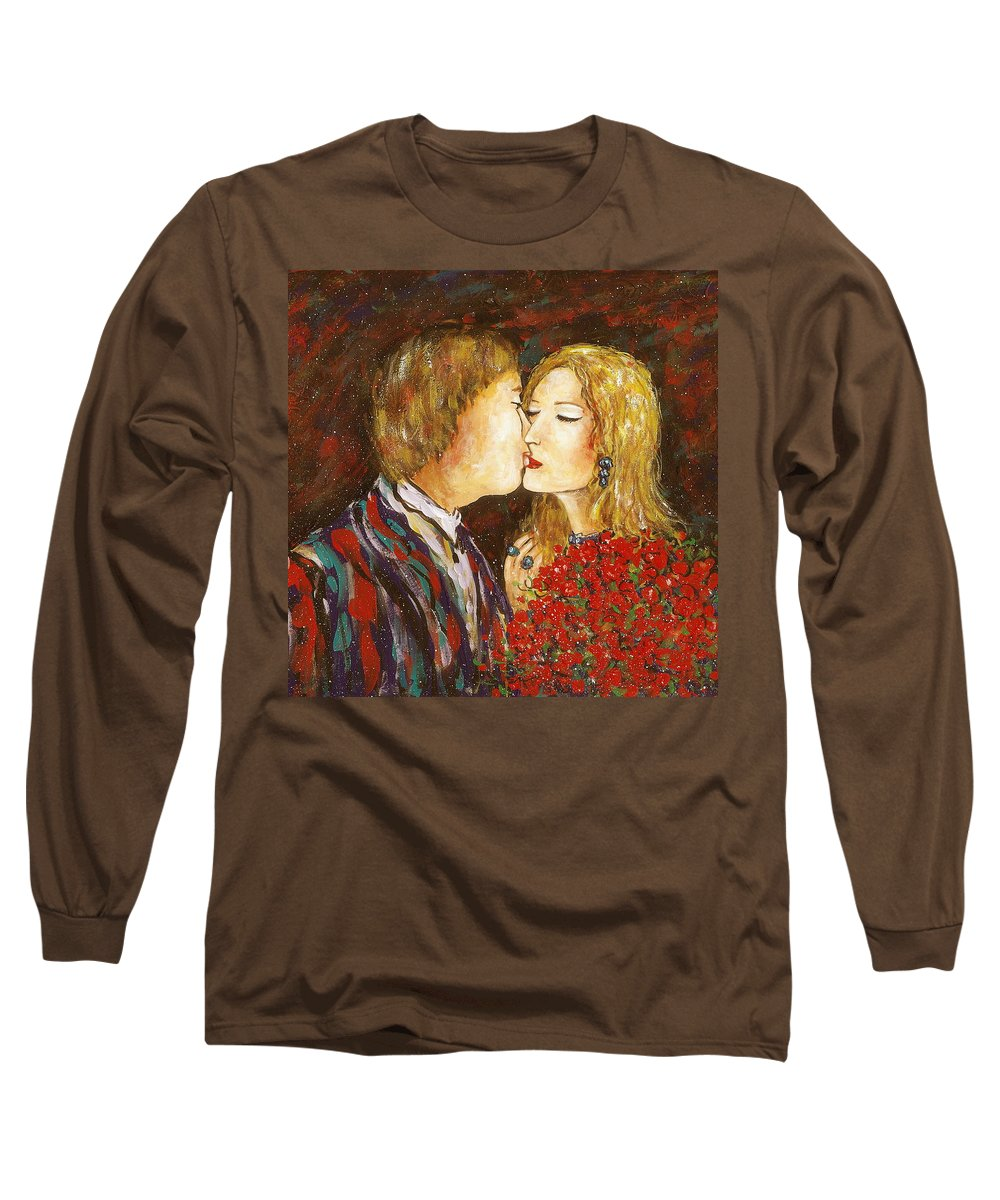 Passion Long Sleeve T-Shirt featuring the painting Kiss by Natalie Holland