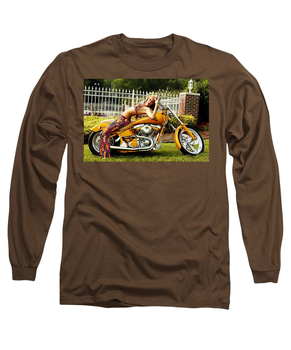 Clay Long Sleeve T-Shirt featuring the photograph Bikes And Babes by Clayton Bruster