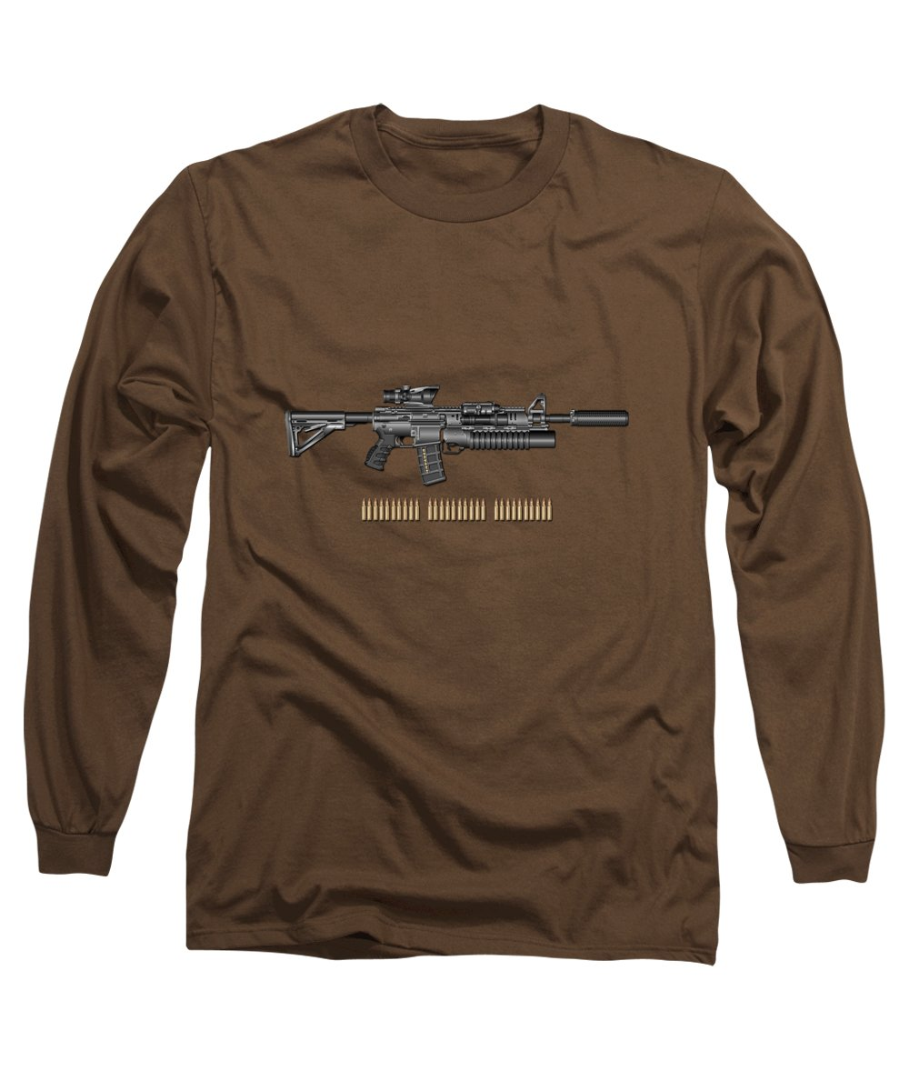 �the Armory� By Serge Averbukh Long Sleeve T-Shirt featuring the photograph Colt M 4 A 1 S O P M O D Carbine With 5.56 N A T O Rounds On Red Velvet by Serge Averbukh