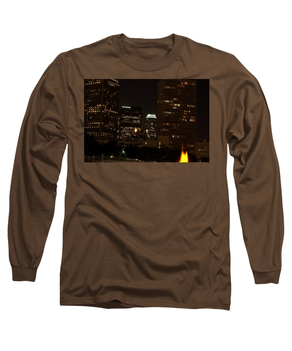 Clay Long Sleeve T-Shirt featuring the photograph Downtown L.a. In Hdr by Clayton Bruster