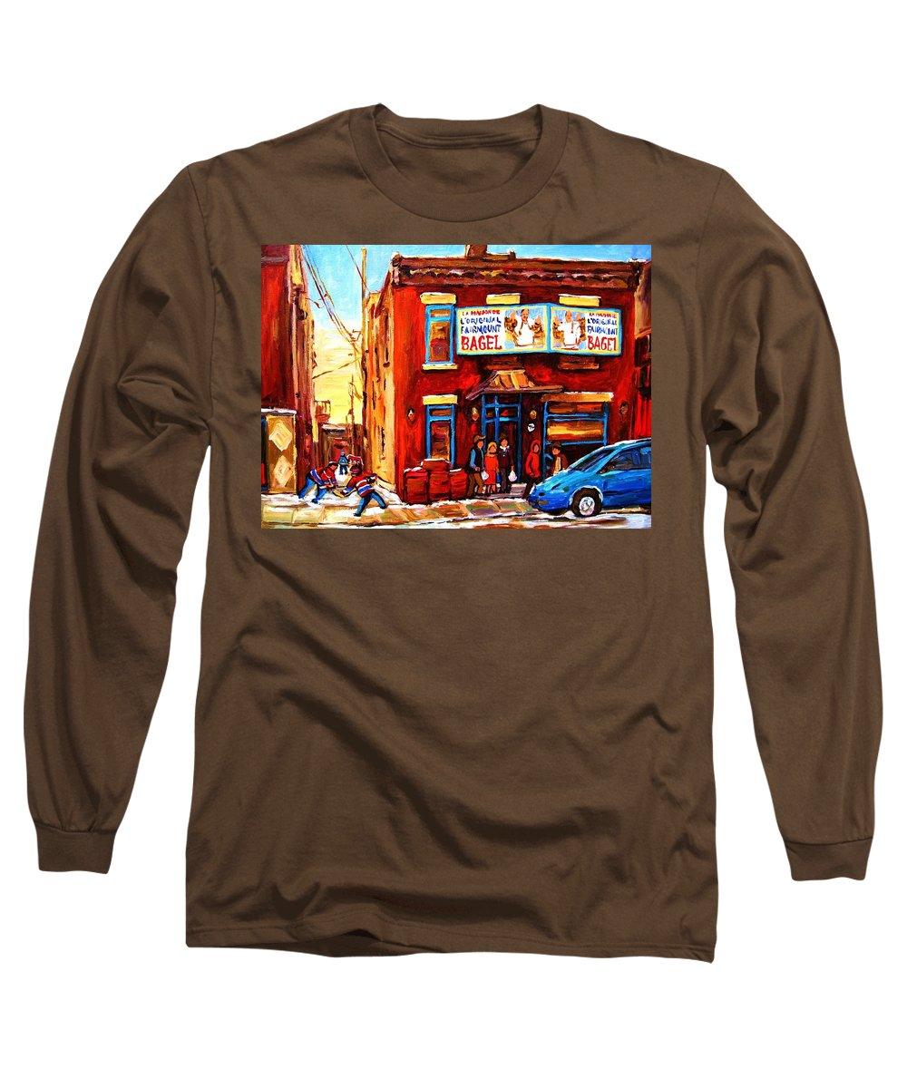 Hockey Long Sleeve T-Shirt featuring the painting Fairmount Bagel In Winter by Carole Spandau