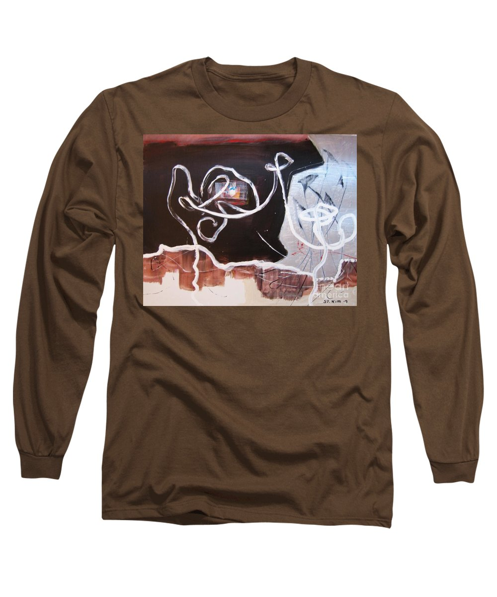 Abstract Paintings Long Sleeve T-Shirt featuring the painting Hand In Hand by Seon-Jeong Kim