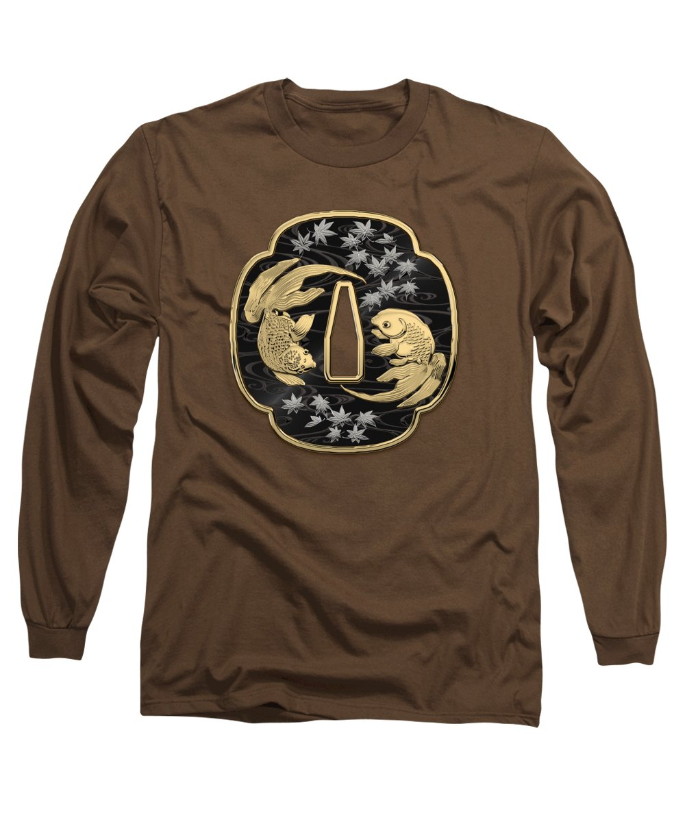 'treasures Of Japan' Collection By Serge Averbukh Long Sleeve T-Shirt featuring the photograph Japanese Katana Tsuba - Twin Gold Fish On Black Steel Over Red Velvet by Serge Averbukh