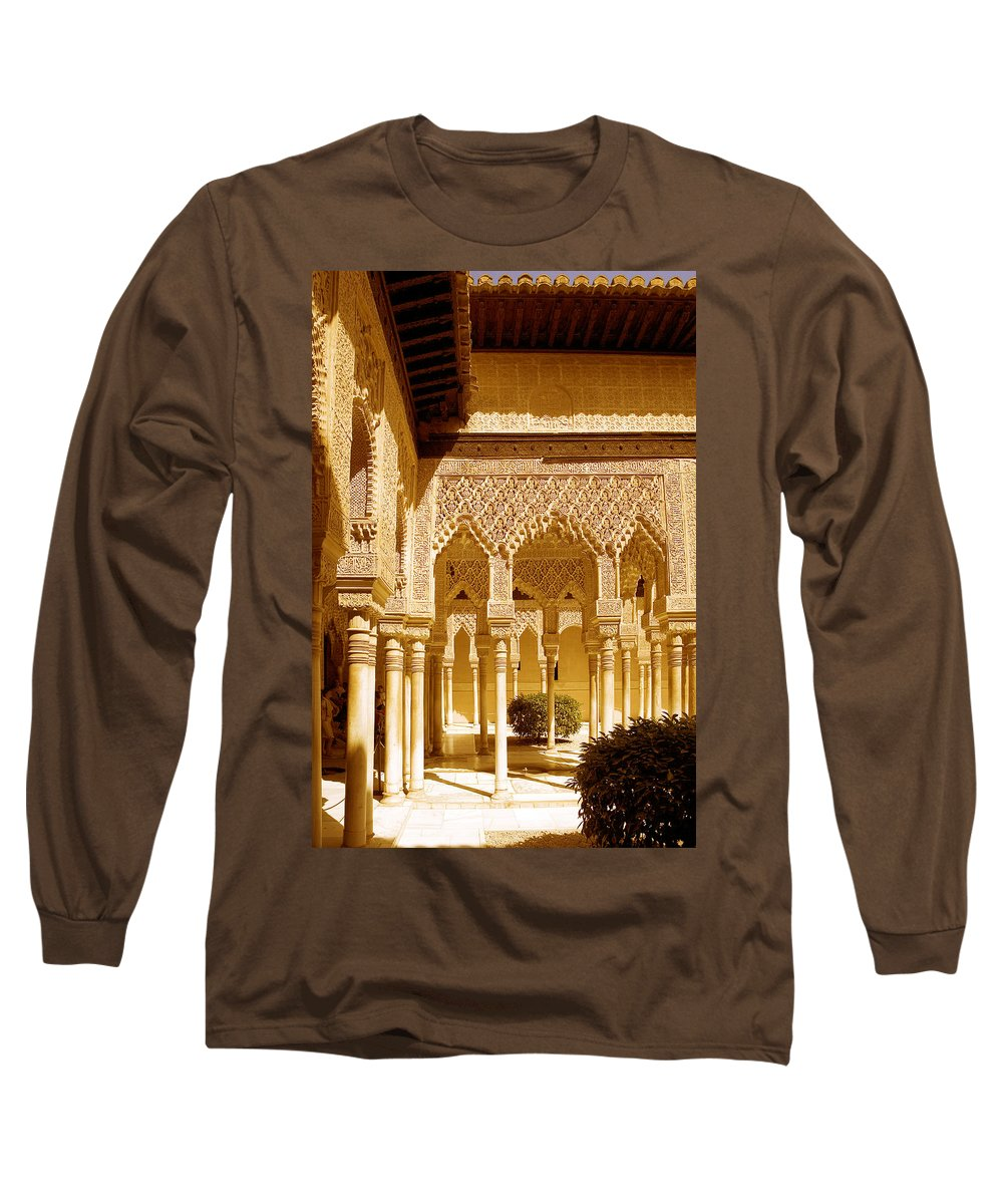Moorish Long Sleeve T-Shirt featuring the photograph Moorish Architecture In The Nasrid Palaces At The Alhambra Granada by Mal Bray