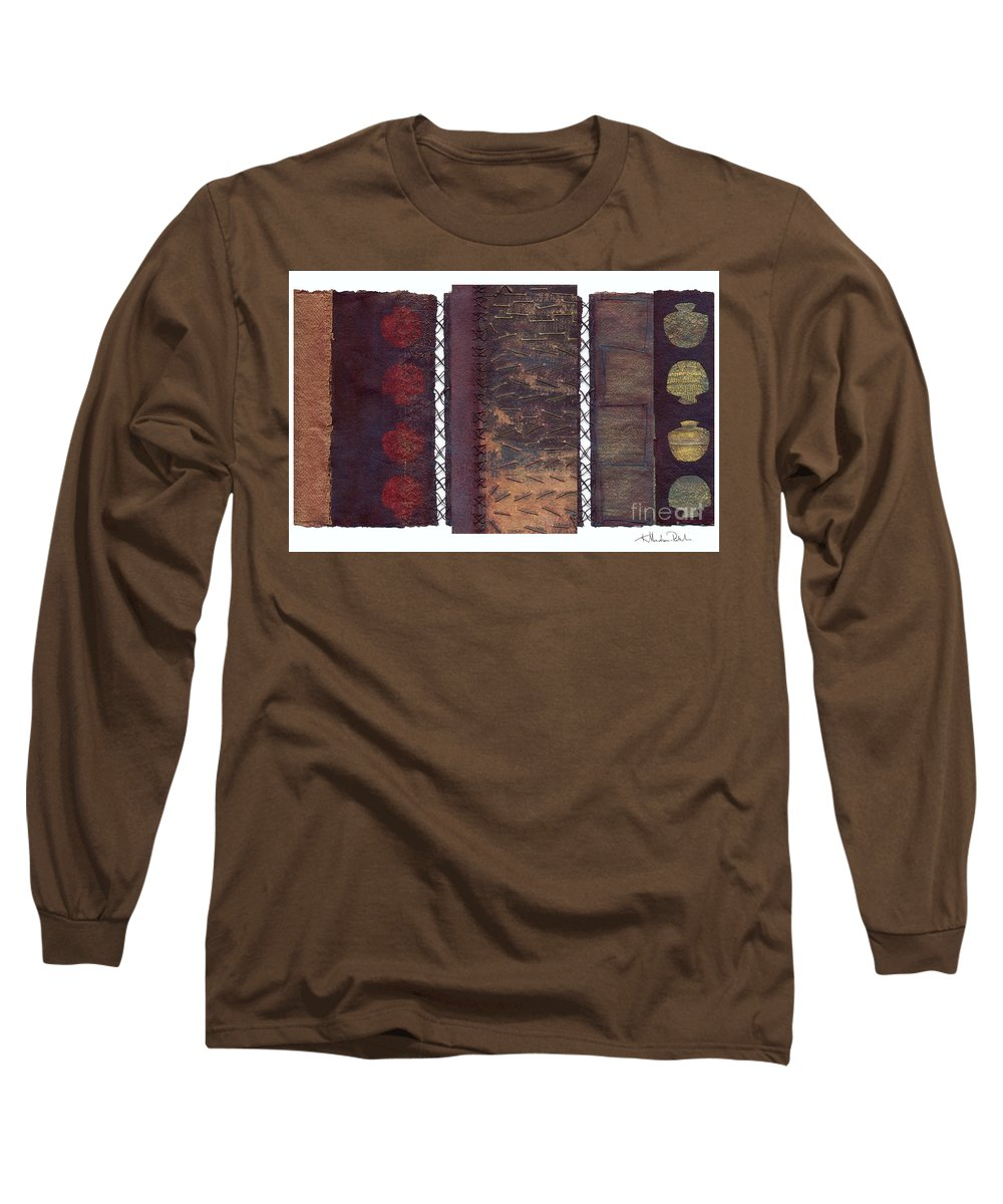 3panel Long Sleeve T-Shirt featuring the painting Three Panel Transitional Page Format by Kerryn Madsen- Pietsch