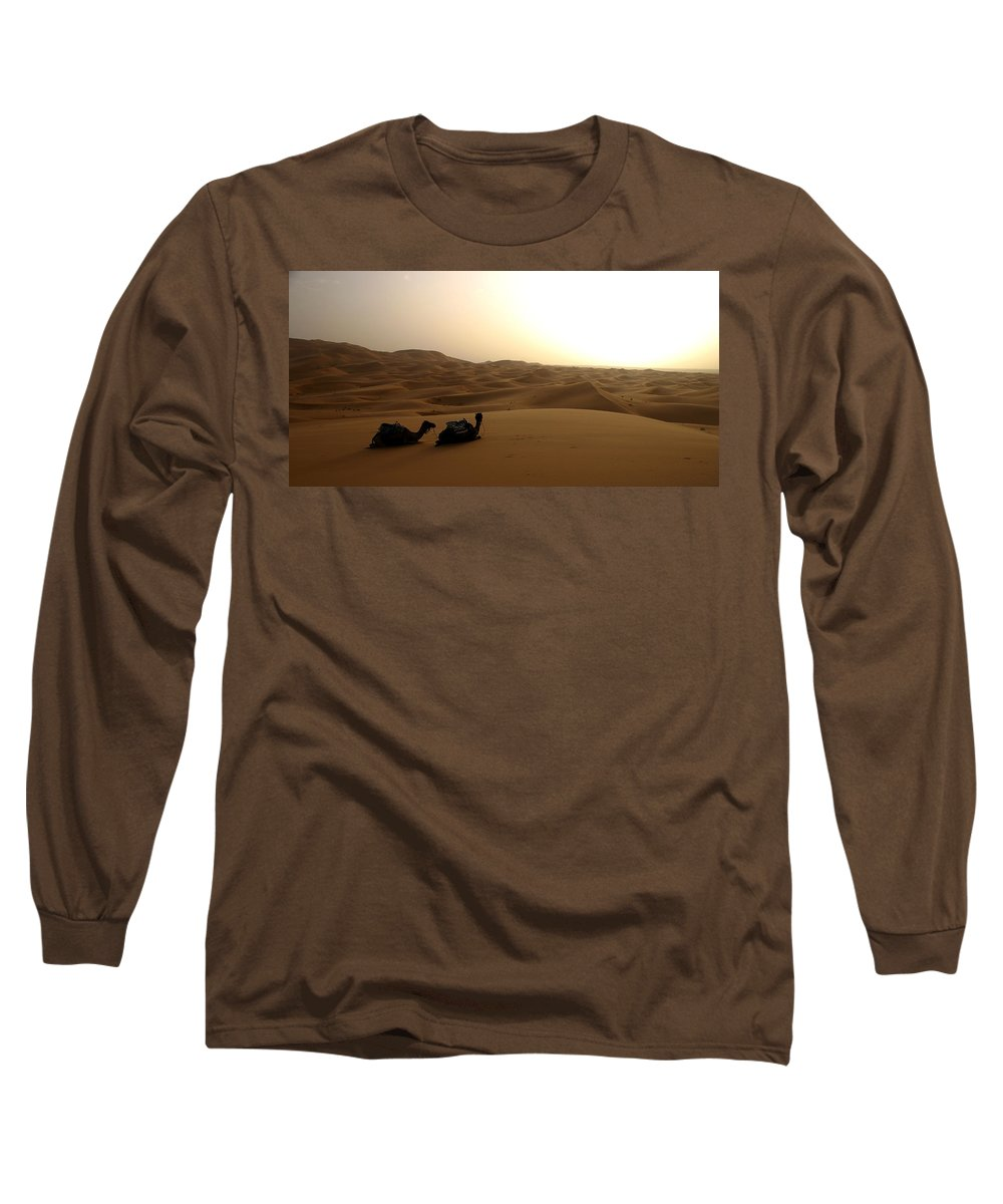 Camel Long Sleeve T-Shirt featuring the photograph Two Camels At Sunset In The Desert by Ralph A Ledergerber-Photography